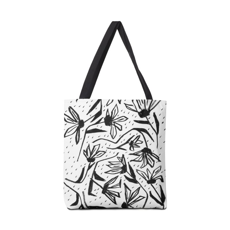 Black Marker Floral Accessories Tote Bag Bag by Cactus Branch