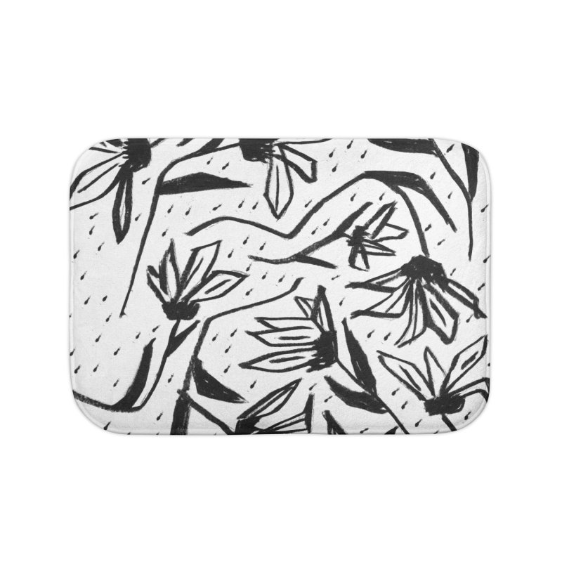 Black Marker Floral Home Bath Mat by Cactus Branch