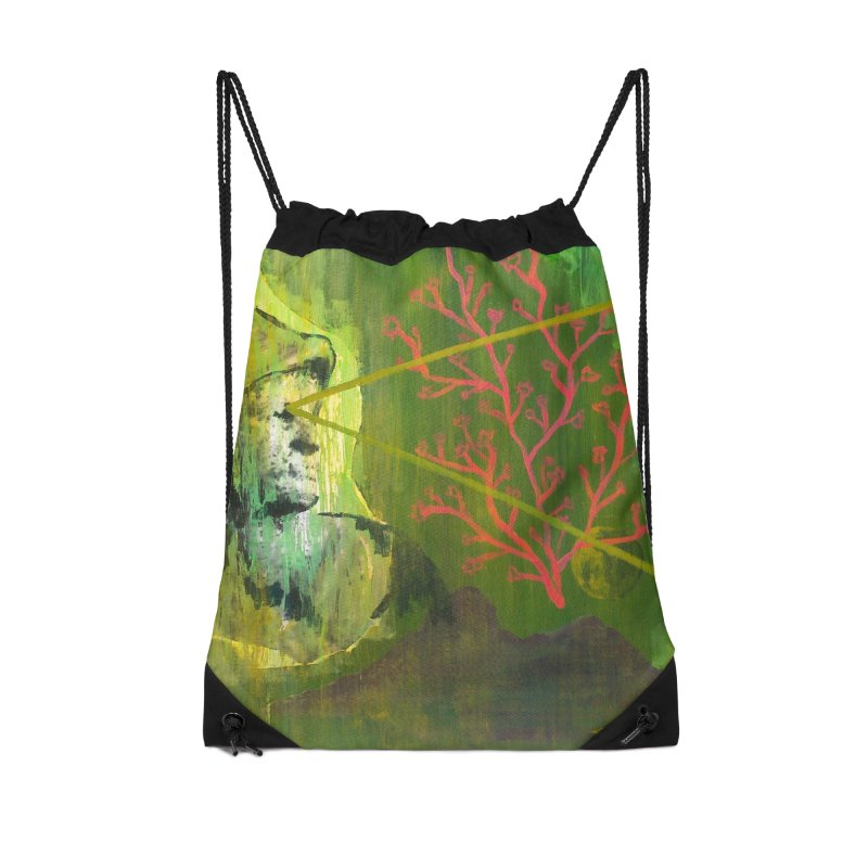 Old Wise Eyes Painting Accessories Drawstring Bag Bag by Cactus Branch