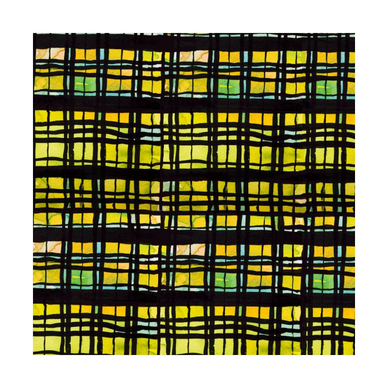 Yellow and Black Plaid Home Fine Art Print by Cactus Branch