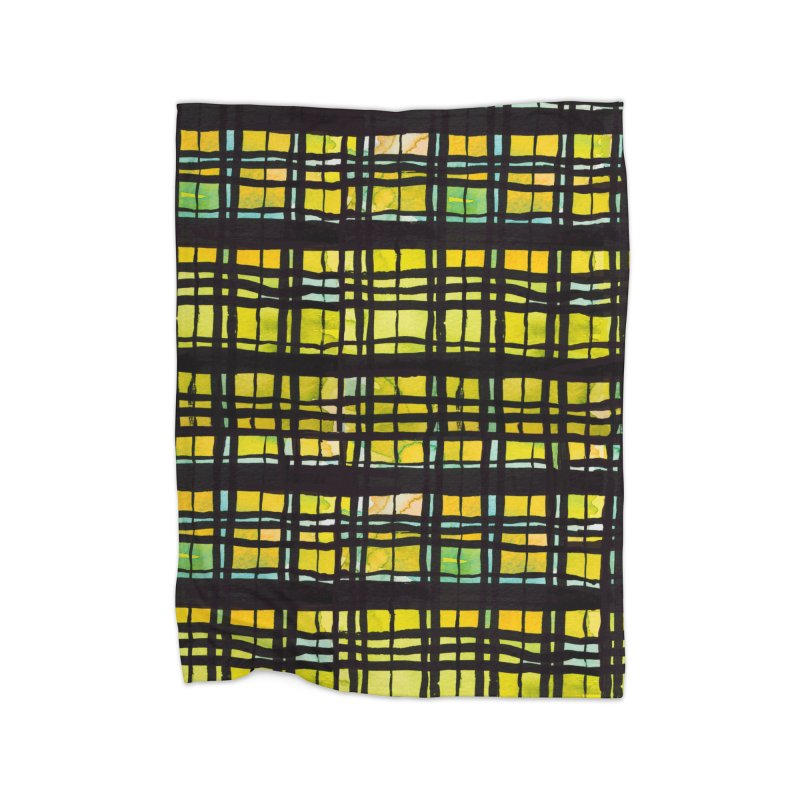 Yellow and Black Plaid Home Fleece Blanket Blanket by Cactus Branch