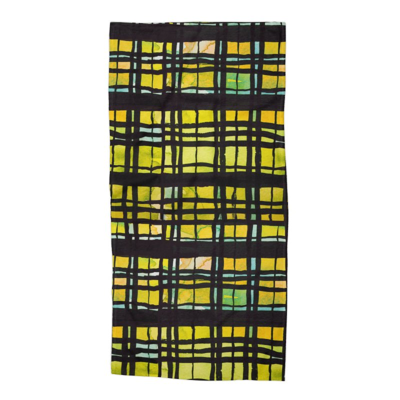 Yellow and Black Plaid Accessories Beach Towel by Cactus Branch