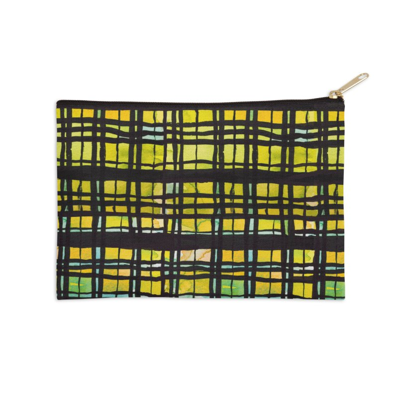 Yellow and Black Plaid Accessories Zip Pouch by Cactus Branch