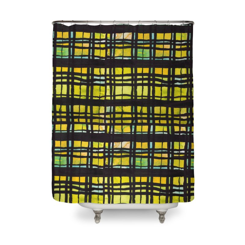 Yellow and Black Plaid Home Shower Curtain by Cactus Branch