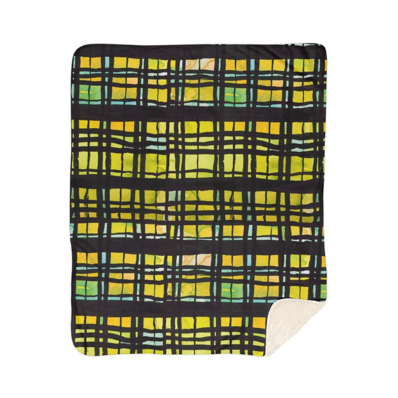 Yellow and Black Plaid Home Sherpa Blanket Blanket by Cactus Branch