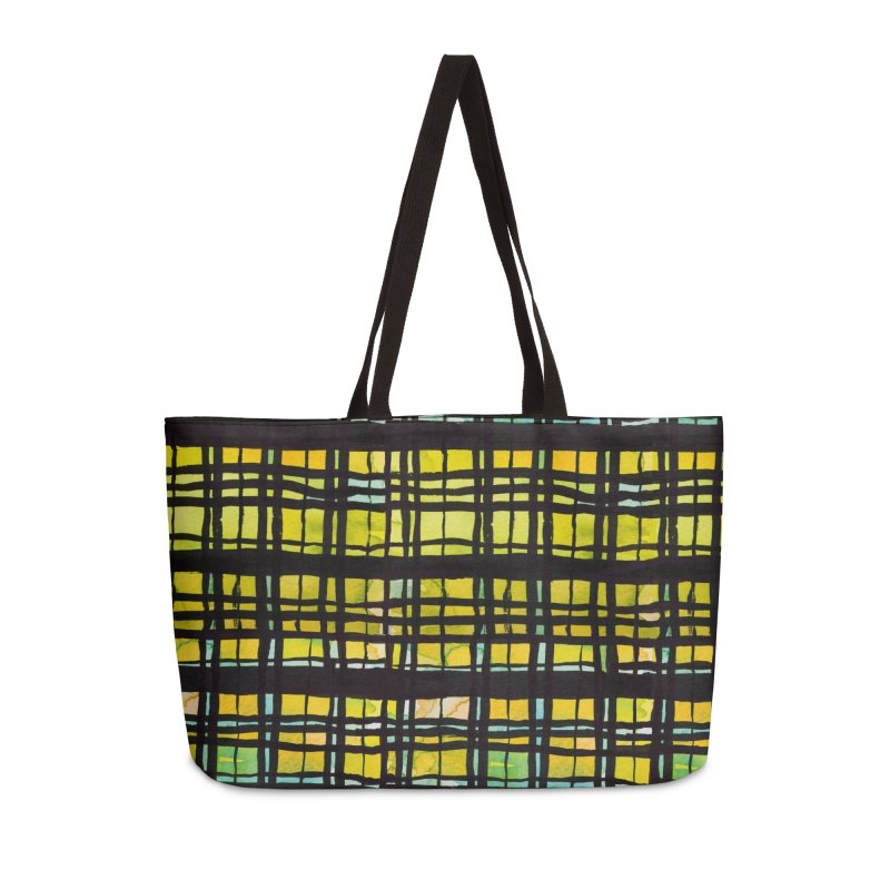Yellow and Black Plaid Accessories Weekender Bag Bag by Cactus Branch