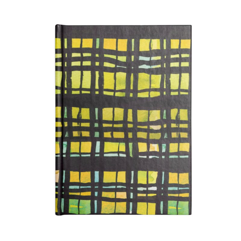 Yellow and Black Plaid Accessories Blank Journal Notebook by Cactus Branch