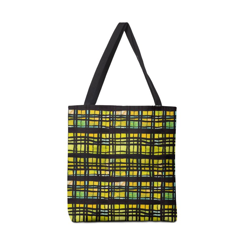 Yellow and Black Plaid Accessories Tote Bag Bag by Cactus Branch