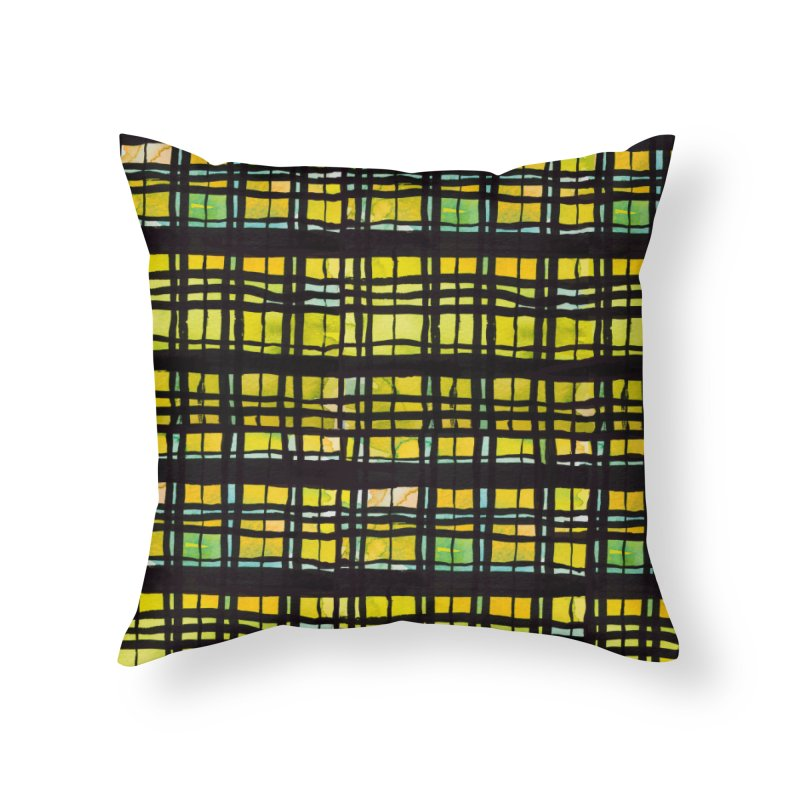 Yellow and Black Plaid Home Throw Pillow by Cactus Branch