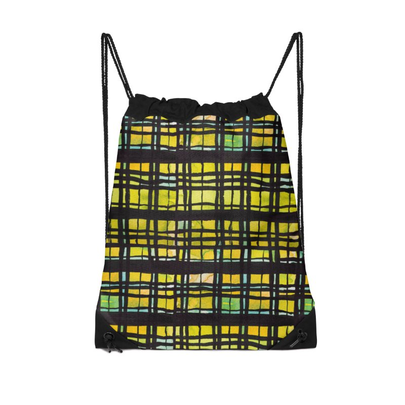 Yellow and Black Plaid Accessories Drawstring Bag Bag by Cactus Branch