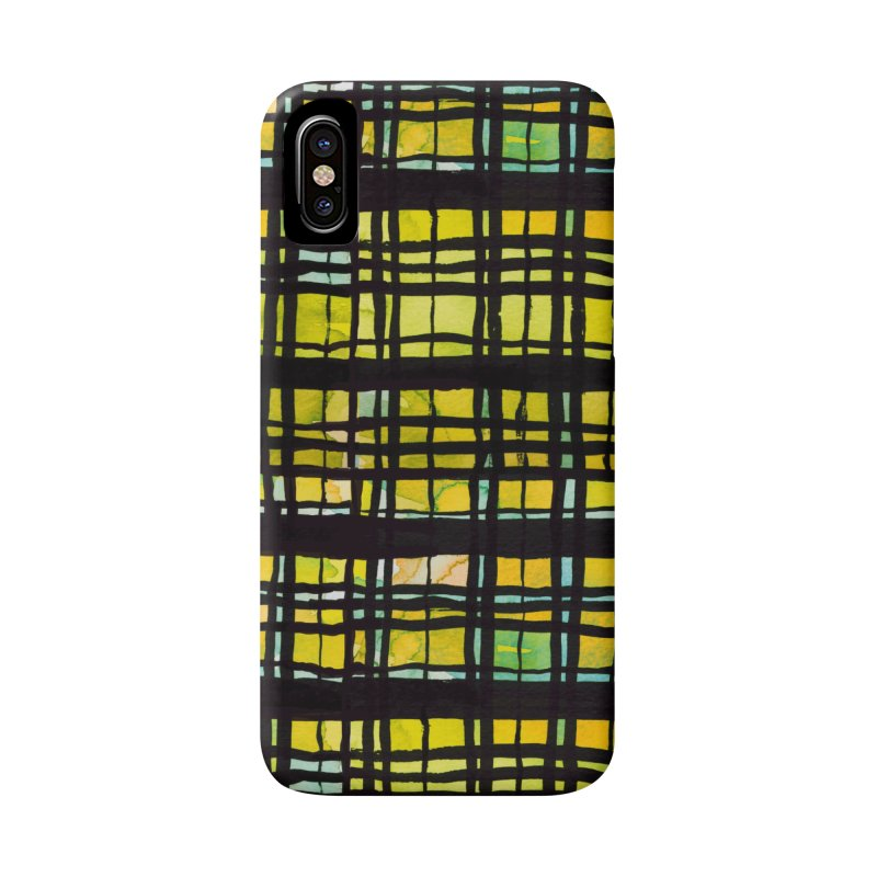 Yellow and Black Plaid Accessories Phone Case by Cactus Branch