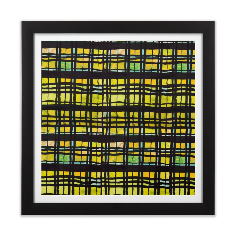 Yellow and Black Plaid Home Framed Fine Art Print by Cactus Branch
