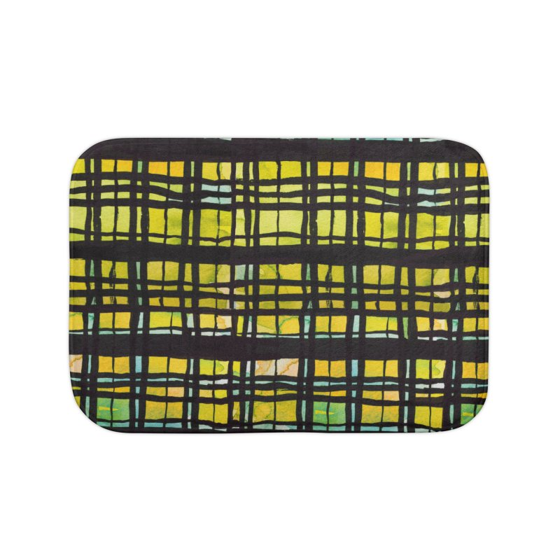 Yellow and Black Plaid Home Bath Mat by Cactus Branch
