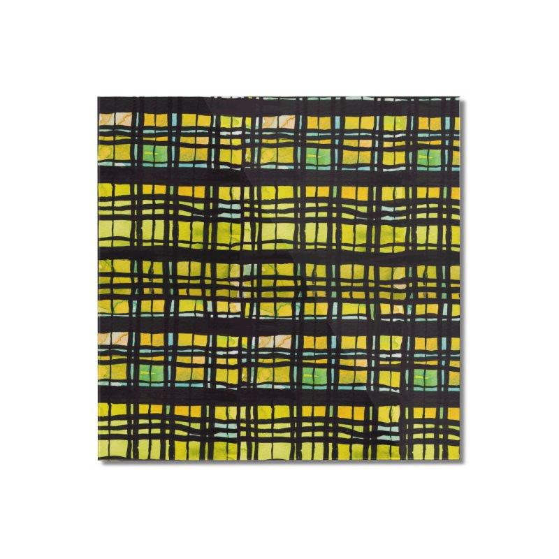 Yellow and Black Plaid Home Mounted Acrylic Print by Cactus Branch