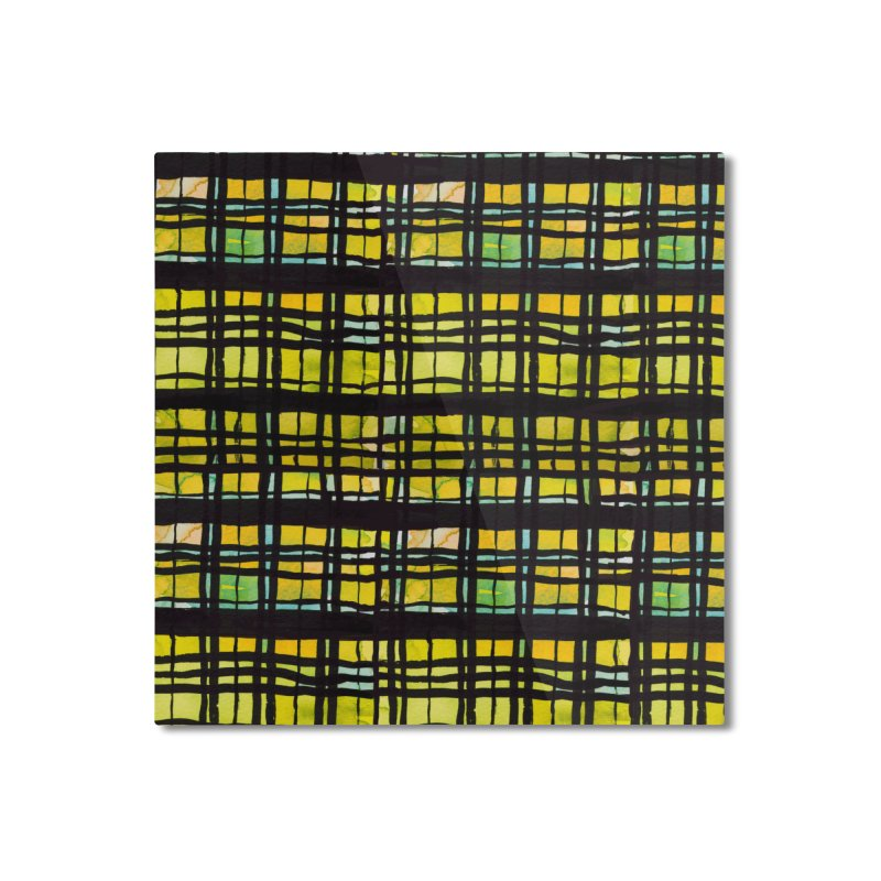 Yellow and Black Plaid Home Mounted Aluminum Print by Cactus Branch