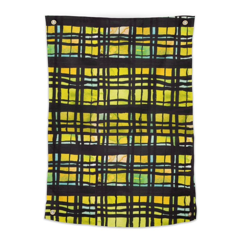 Yellow and Black Plaid Home Tapestry by Cactus Branch