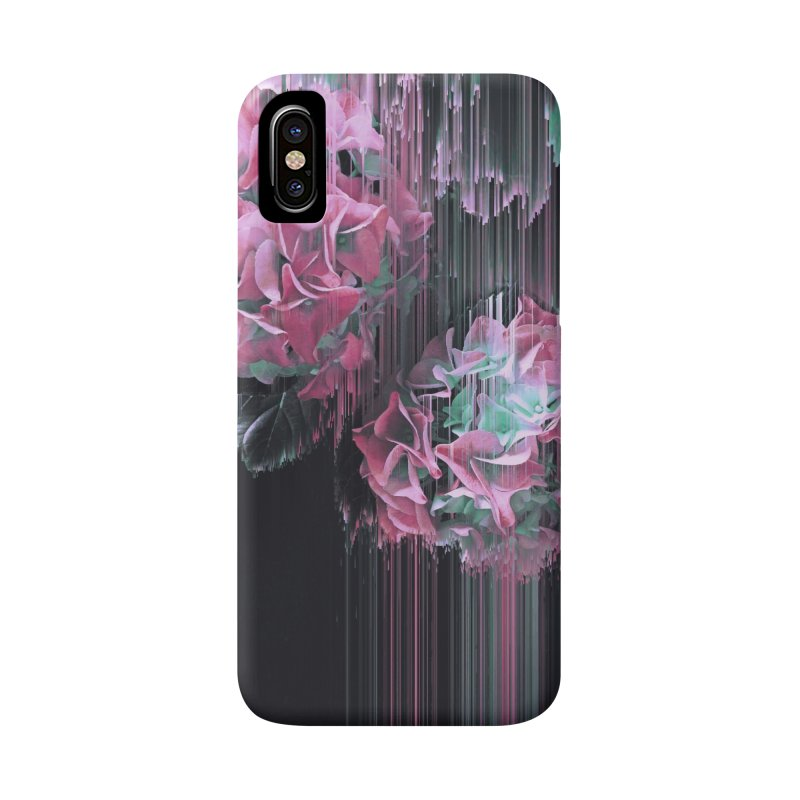 Glitch Pink Hydrangea Accessories Phone Case by cafelab
