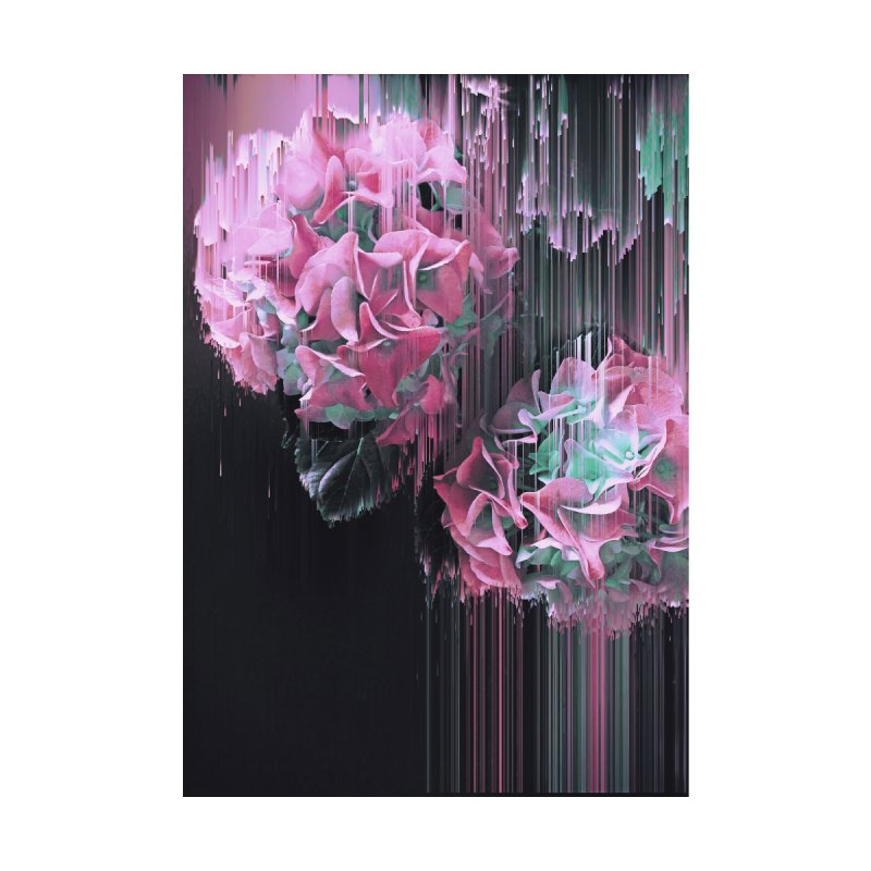 Glitch Pink Hydrangea Home Throw Pillow by cafelab