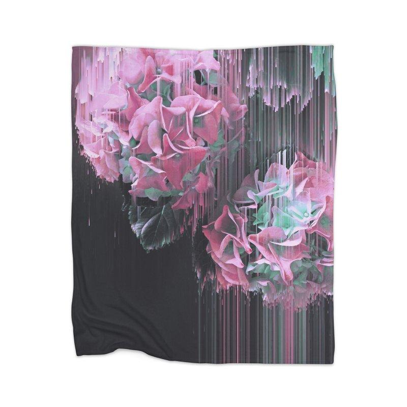 Glitch Pink Hydrangea Home Blanket by cafelab
