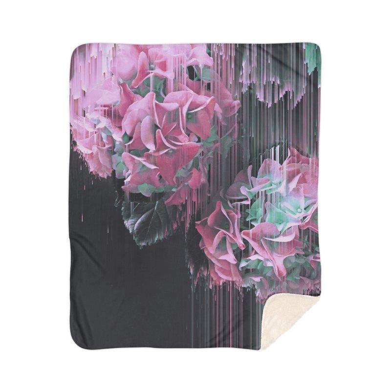 Glitch Pink Hydrangea Home Sherpa Blanket Blanket by cafelab