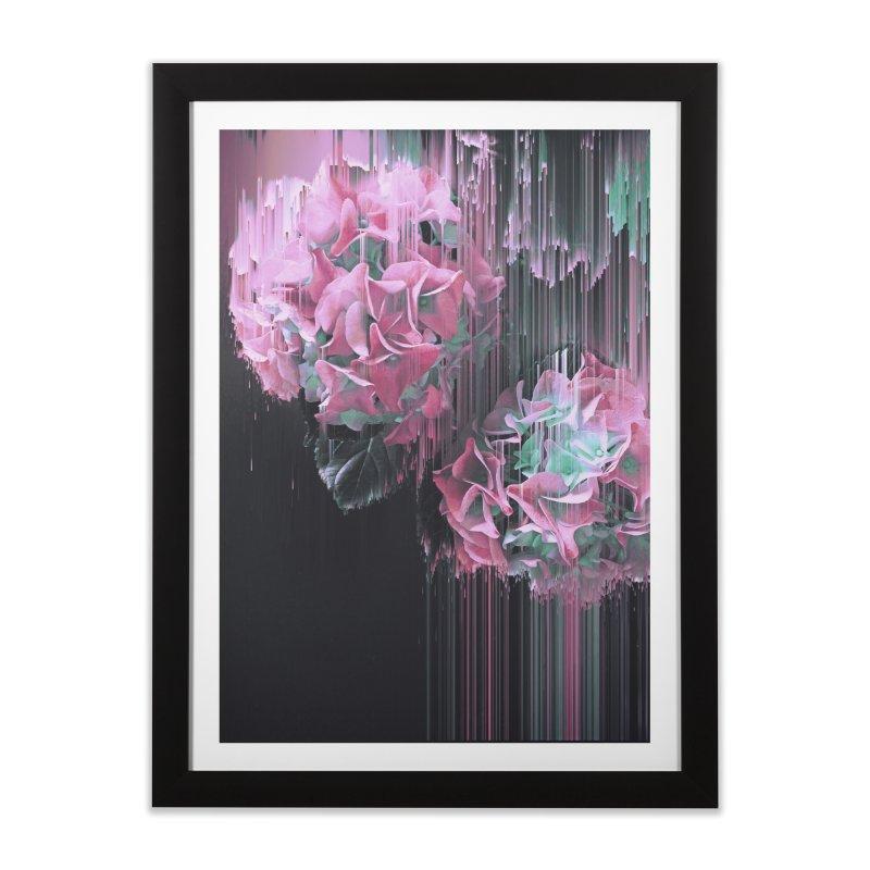 Glitch Pink Hydrangea Home Framed Fine Art Print by cafelab
