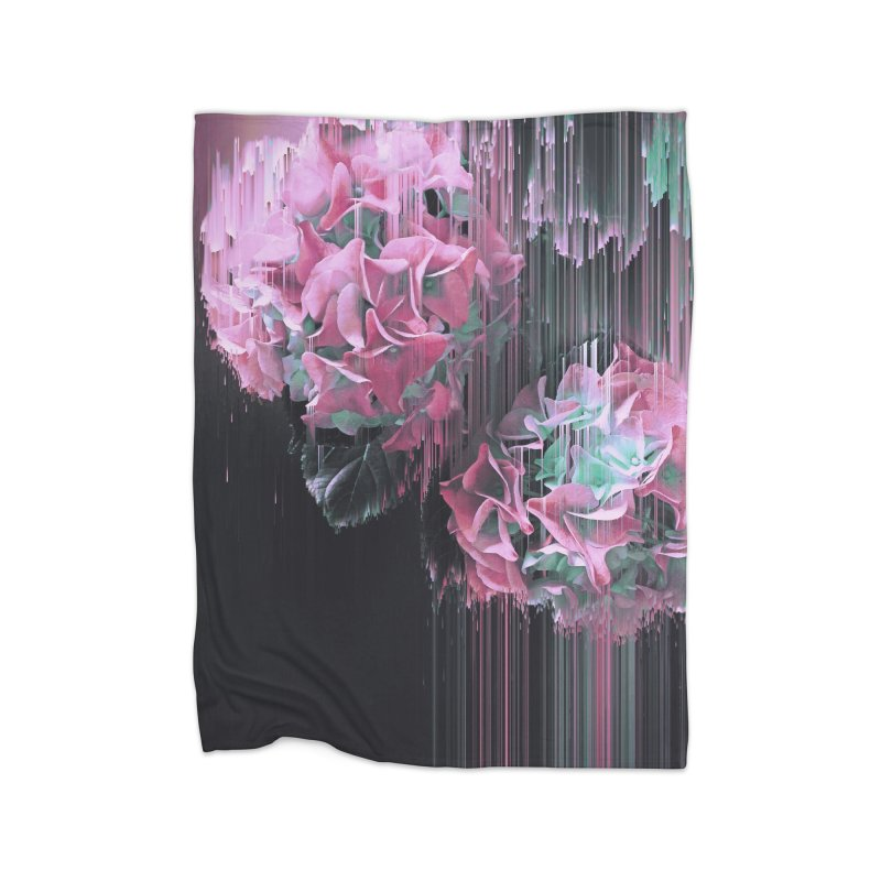 Glitch Pink Hydrangea Home Fleece Blanket Blanket by cafelab