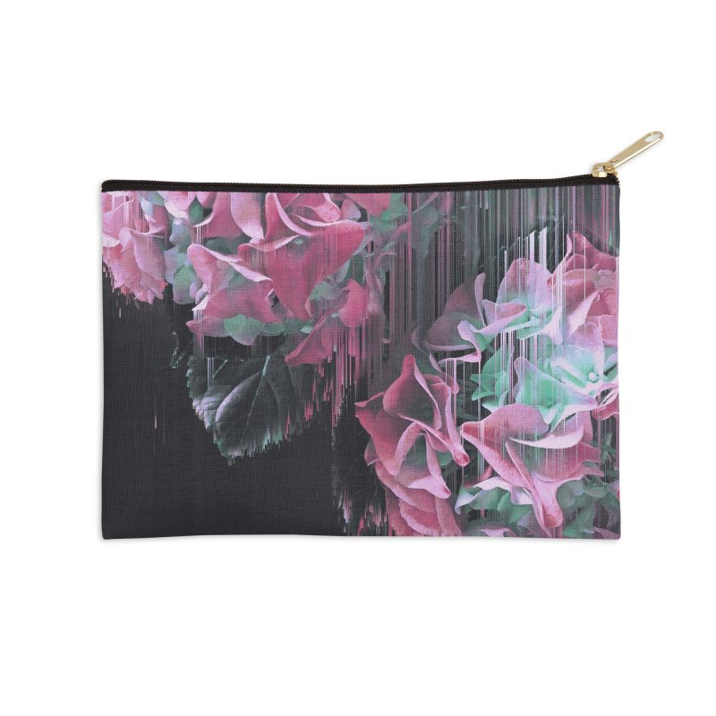 Glitch Pink Hydrangea Accessories Zip Pouch by cafelab