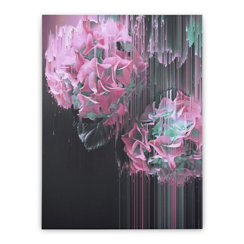 Glitch Pink Hydrangea Home Stretched Canvas by cafelab