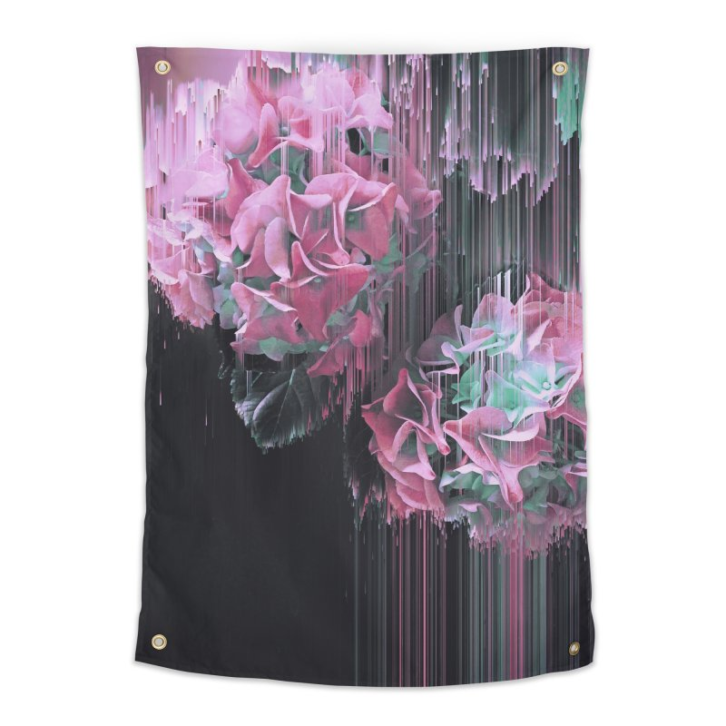 Glitch Pink Hydrangea Home Tapestry by cafelab