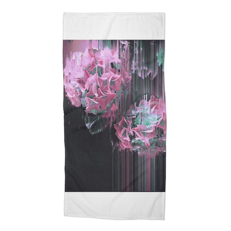 Glitch Pink Hydrangea Accessories Beach Towel by cafelab