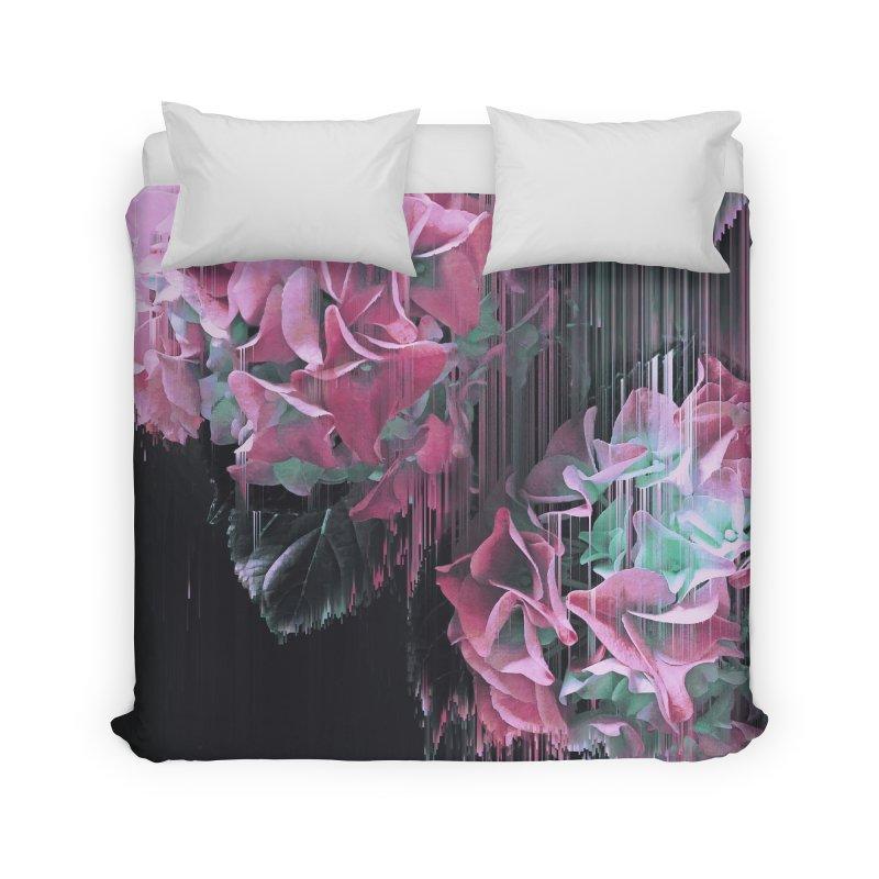 Glitch Pink Hydrangea Home Duvet by cafelab