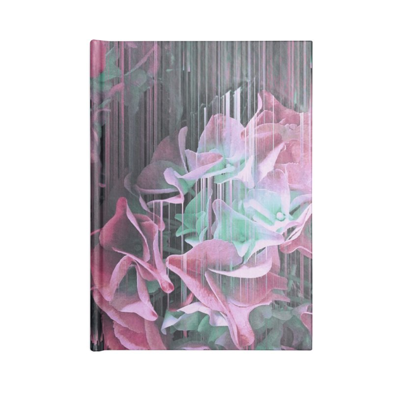Glitch Pink Hydrangea Accessories Lined Journal Notebook by cafelab