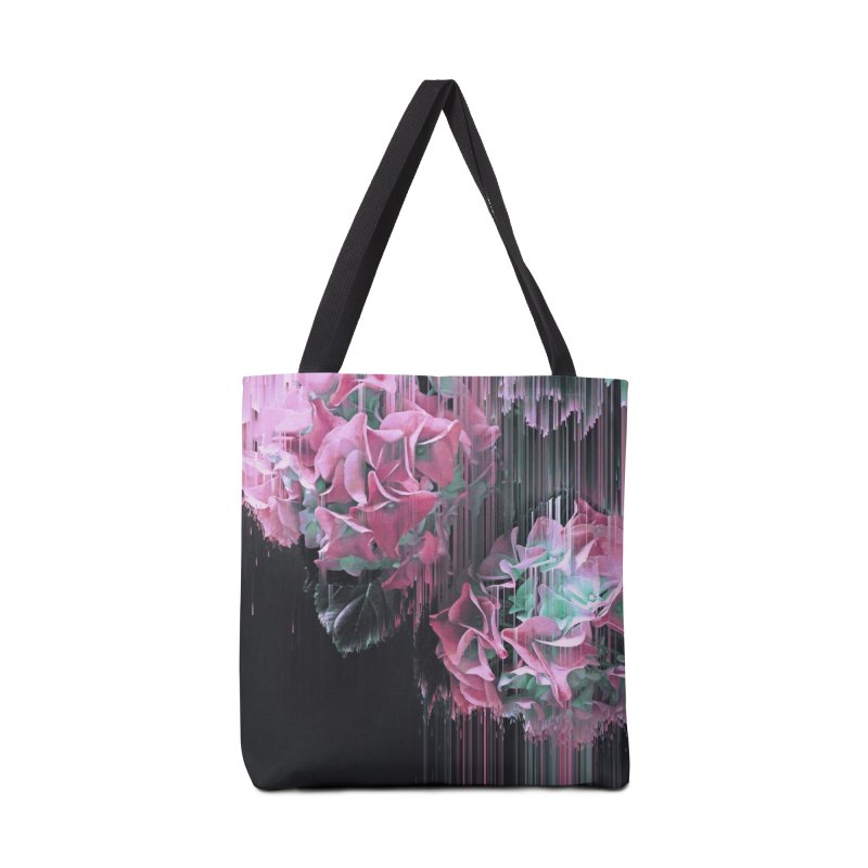 Glitch Pink Hydrangea Accessories Bag by cafelab
