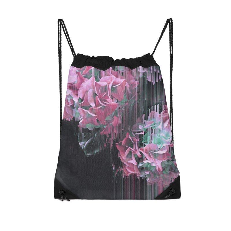 Glitch Pink Hydrangea Accessories Drawstring Bag Bag by cafelab