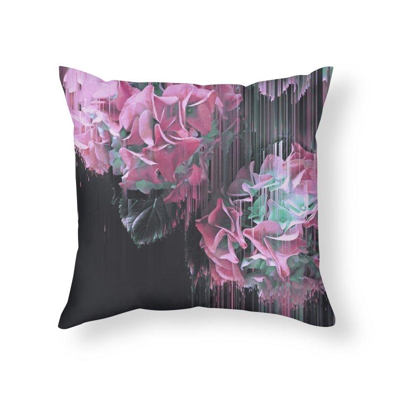 Glitch Pink Hydrangea Home Throw Pillow by cafelab