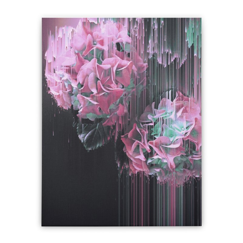 Glitch Pink Hydrangea Home Stretched Canvas by cafelab's Artist Shop