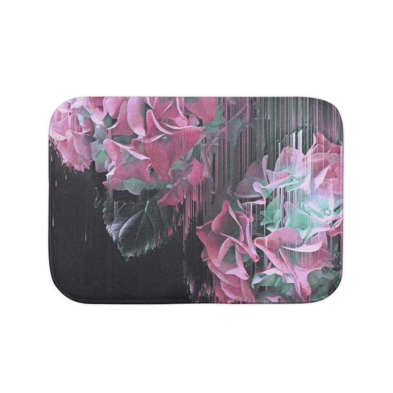 Glitch Pink Hydrangea Home Bath Mat by cafelab