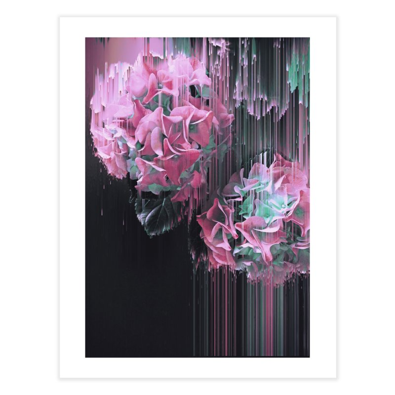 Glitch Pink Hydrangea Home Fine Art Print by cafelab