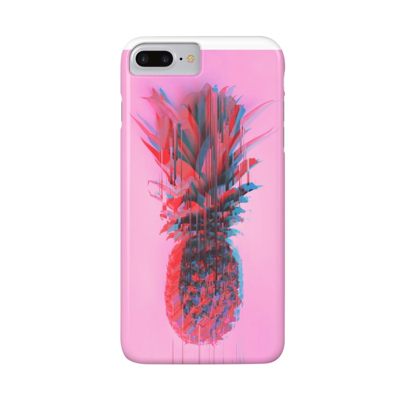 Glitched Pineapple on Pink Accessories Phone Case by cafelab