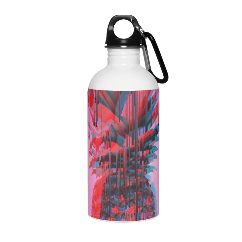 Glitched Pineapple on Pink Accessories Water Bottle by cafelab