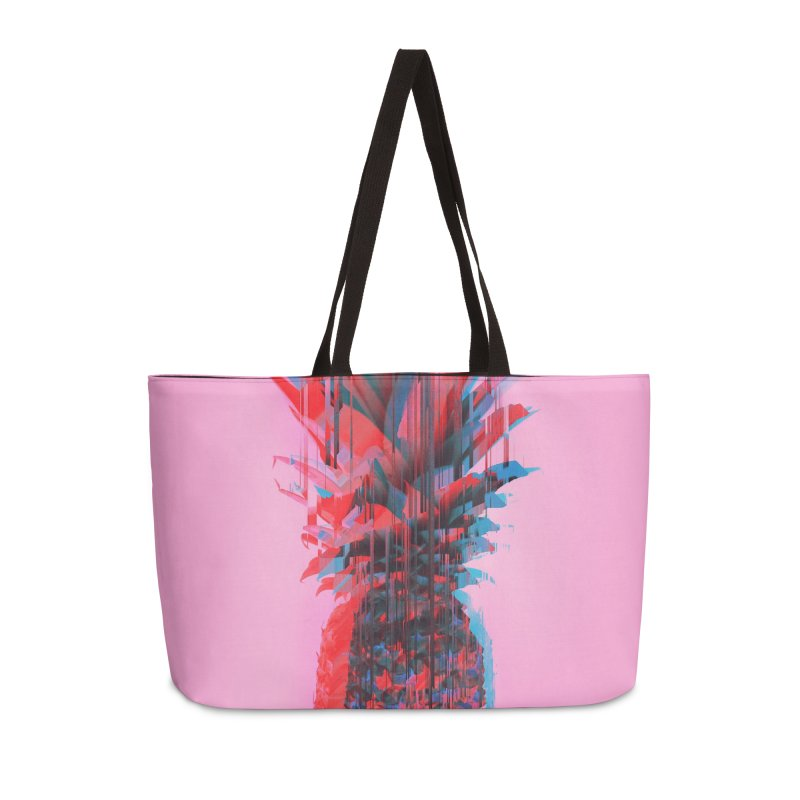Glitched Pineapple on Pink Accessories Weekender Bag Bag by cafelab