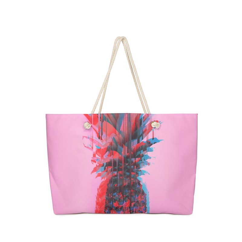 Glitched Pineapple on Pink Accessories Bag by cafelab