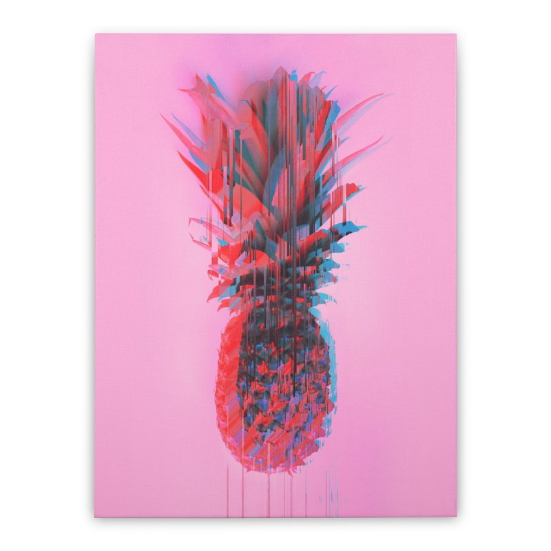 Glitched Pineapple on Pink Home Stretched Canvas by cafelab