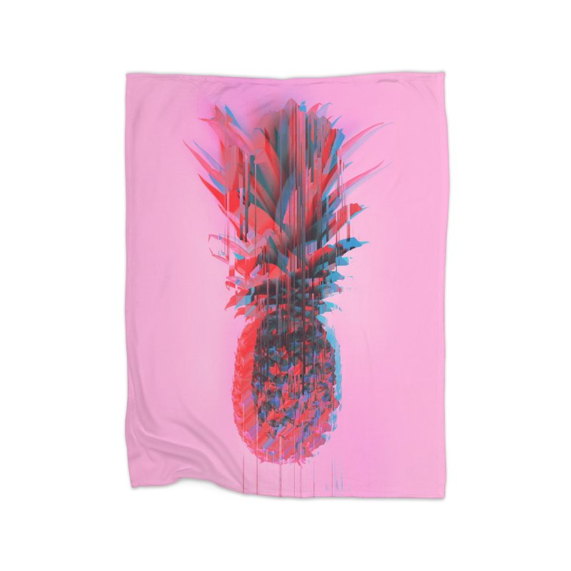 Glitched Pineapple on Pink Home Fleece Blanket Blanket by cafelab