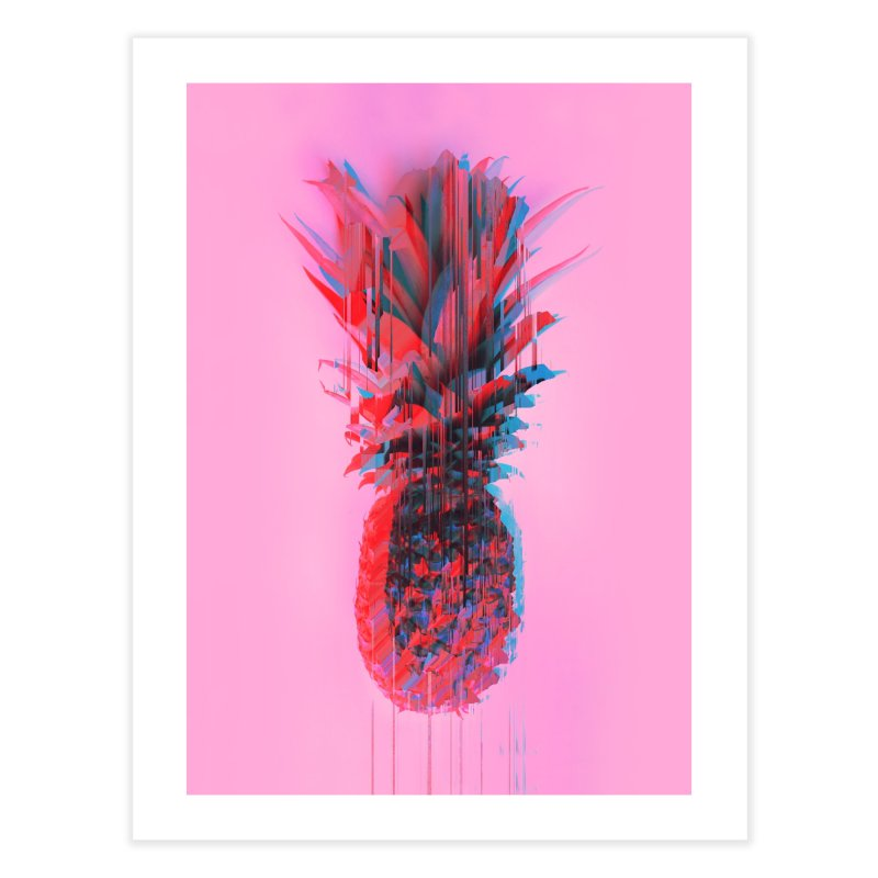 Glitched Pineapple on Pink Home Fine Art Print by cafelab