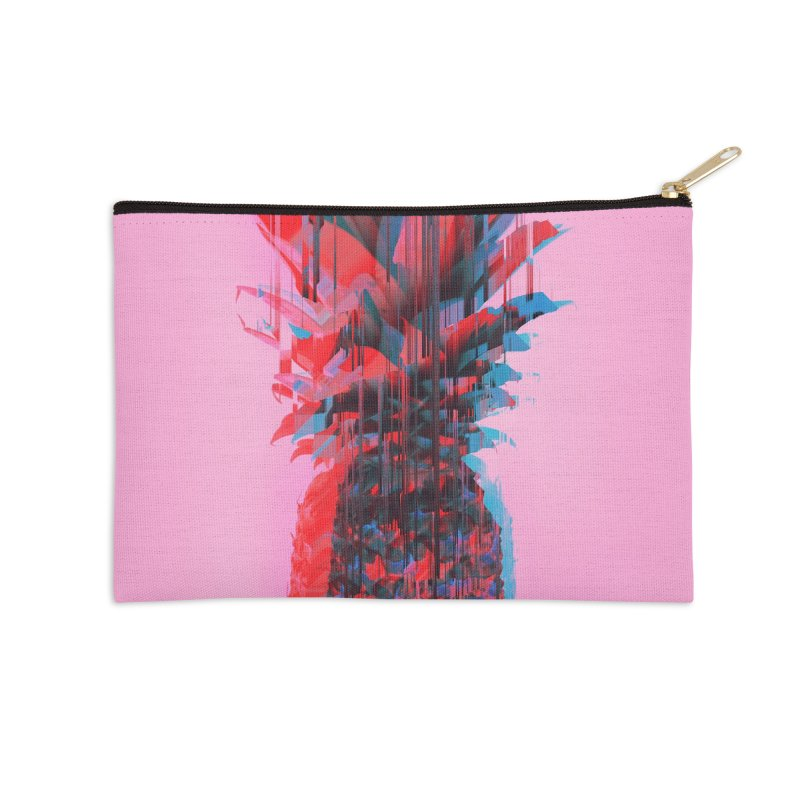 Glitched Pineapple on Pink Accessories Zip Pouch by cafelab