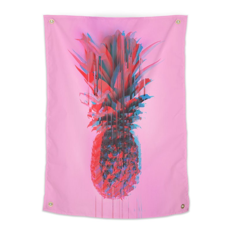 Glitched Pineapple on Pink Home Tapestry by cafelab