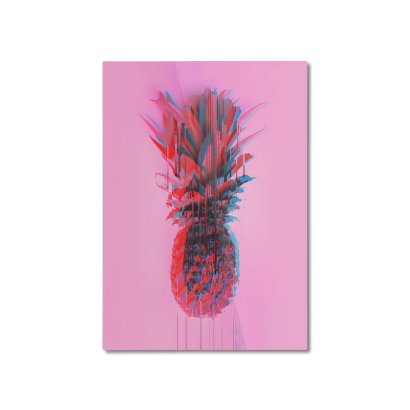 Glitched Pineapple on Pink Home Mounted Aluminum Print by cafelab