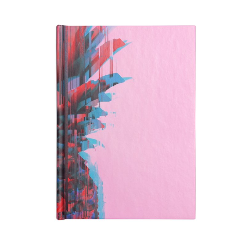Glitched Pineapple on Pink Accessories Lined Journal Notebook by cafelab