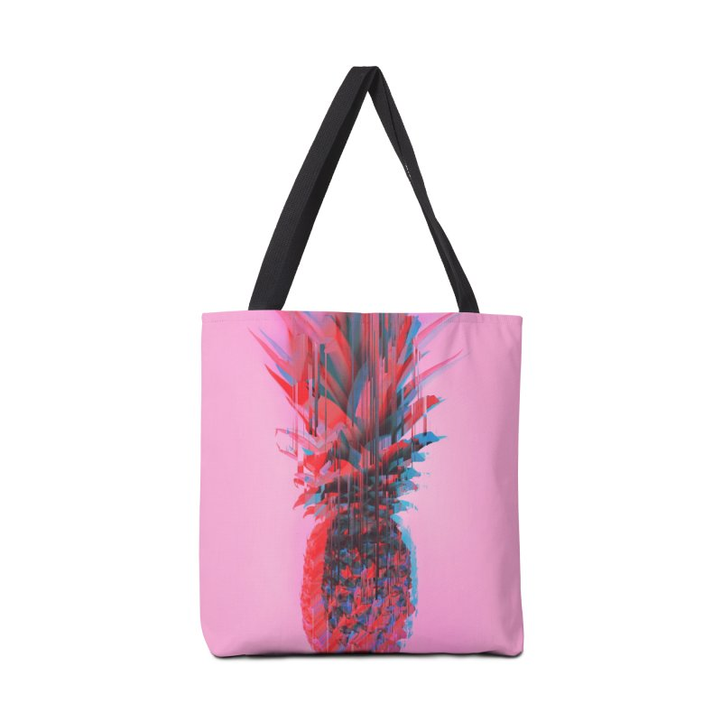 Glitched Pineapple on Pink Accessories Tote Bag Bag by cafelab